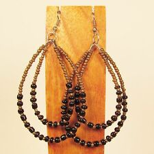 "3"" Long Double Teardrop Hoop Gold Black Handmade Seed Bead Hook Earrings"