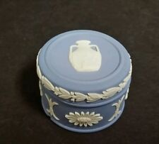 1978 Wedgwood Blue Jasperware PORTLAND JUG ROUND LIDDED PILL Trinket Box