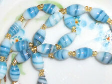 #1301 Vintage NOS  Glass Bead Necklace With Tag India Blue Swirl Beaded NWT