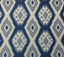 "BALLARD DESIGNS TYBEE BLUE DIAMOND MEDALLION IKAT DESIGNER FABRIC BY YARD 56""W"