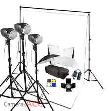 Photo Studio 540W Flash Lighting Kit White Backdrop Stand Background Earthed UK