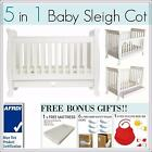 BRAND NEW 5 In 1 White Baby Toddler Wooden Sleigh Cot Crib Bed with Mattress
