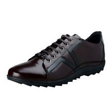 Versace Collection Men's Burgundy Leather Fashion Sneakers Shoes US 11 IT 44