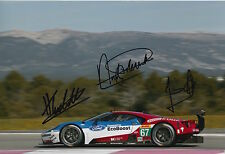 Franchitti, Priaulx, Tincknell Hand Signed Ford GT 12x8 Photo 2016 Le Mans 6.