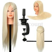 "24"" Real Hairdressing Hair Practice Human Head Training Mannequin With Clamp"