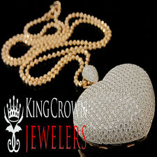 10K Rose Gold Silver Ladies Round Cut Lab Diamond Pave Puff Heart Love Pendant