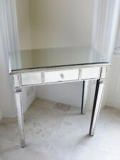 Antique Silver Mirrored Glass Venetian 1 Drawer Console Hall Dressing Table