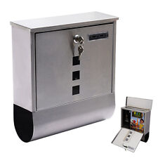Wall Mount Mail Box Steel w/ Retrieval Door & 2 Keys & Newspaper Roll New