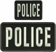 police embroidery patches 3x6 and 2x3 velcro on back silver