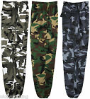 Mens Camouflage camo cargo fleece jog sweat pant blue brown green