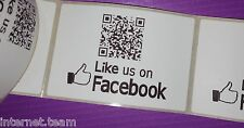 500 Large LIKE US ON FACEBOOK packaging labels with BESPOKE Personalised QR code