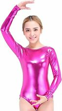 Speerise Women Long Sleeve Shiny Metallic Lycra Spandex Gymnastics Leotard, L