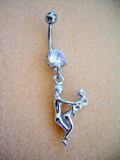 14g Kama Sutra Sex Position Navel Belly Ring Clear Cz Surgical Steel #3