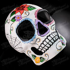 Mens Day of the Dead Full Face Skull White Flora Halloween Masquerade Mask