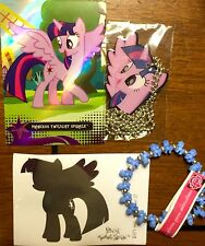 My Little Pony Twilight Sparkle Dog Tag, Bracelet, Trading Card, & Decal Set LOT