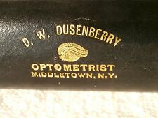 NEW YORK: D.W. DUSENBERRY OPTOMETRIST: BLACK LEATHER WRAPPED SPECTACLE CASE