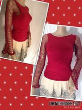 bebe Size S Pull over bodycon fish net sleeves top Burgundy