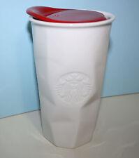 Starbucks White Ceramic Faceted Travel Mug Red Lid NWOT 2013