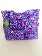 NWT Vera Bradley Pleated Tote Shoulder / Hand Bag In Lilac Tapestry
