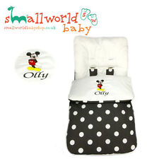 Personalised Black Polka Dot Mickey Mouse Footmuff Cosytoes (NEXT DAY DISPATCH)