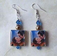 Gone with the Wind Earrings My Dear Scarlett O'Hara & Rhett Vintage Art