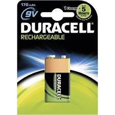 5 BATTERIES RECHARGEABLE 9V 6LR61 DURACELL BATTERY 170 MAH HR22 HR9V DC1604