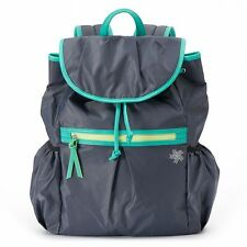 TEK GEAR Back To School Gray Turquoise Tablet Pleated Sport Bag Backpack NWT$100