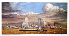New Orleans Mississippi River Front, Before the Fair By Burny Myrick S/N 96/985