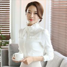 Women Retro Ruffle High Neck Blouse Long Sleeve Shirt Cotton OL Career Top Shirt