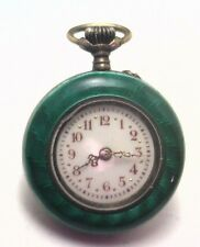 Antique Victorian Sterling Silver Green Enamel Pocket Watch Working  #P428