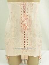 SASSY VINTAGE ELEE'S PINK LACE-UP BONED OB CORSET W/6 WIDE GARTERS  NOS SIZE 27