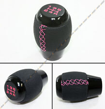 FOR MITSUBISHI EVO LANCER 7 8 9 X BLK LEATHER MANUAL SHIFT KNOB+ PINK STITCH