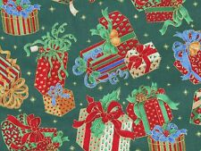 """CRANSTON Christmas Cotton Fabric Quilt Wt Wrapped Gifts Green Red Gold 44"""" W"""