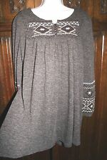 boho folk knit sweater dress M embroidered tunic aztec native american brown