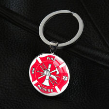 Fire Rescue Keychains Silver Pendant Keyrings Key Chain Gift For Firemen XK-128