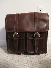 Henry Louis vintage mail bag / messenger briefcase brown distressed leather
