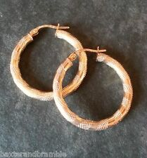 9ct Gold striped Tube creole Ear Rings