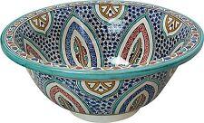 Fes multic céramique marocaine bathroom sink bassin peint à la main inside-out d 40cm