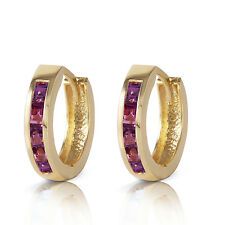 0.85 Carat 14K Solid Gold Hoop Huggie Earrings Purple Amethyst