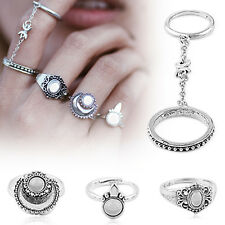 5pcs Silver Boho Women Stack Plain Above Knuckle Ring Midi Finger Tip Rings YK