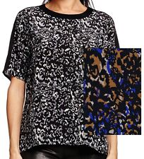 NWT $178 Michael Stars Printed Silk Split Back Elbow Sleeve Top Size M