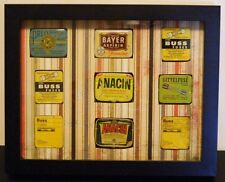 Framed Collectilbe Tins, BUSS Fuses, Bayer, Anacin, Perferred Fuses, ETC 9 TOTAL