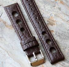 Brown calf grain 18mm leather racing watch band with big holes great texture