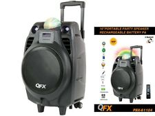 "QFX PBX-61104 10"" Rechargeable PA Party Speaker +Bluetooth +RGB Dome Light"