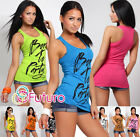 Summer Sexy Vest Top Born To Party Boxer T-Shirt Trendy Colors One Size 8-10-12