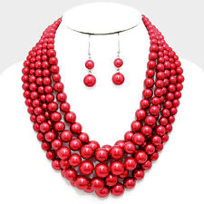 Chunky Pearl Necklace Multi Layered Twisted Statement SILVER RED Evening Event