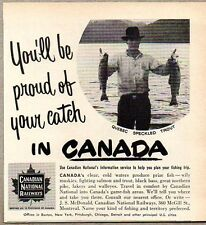 1951 Print Ad Canadian National Railways Canada Fishing Quebec Speckled Trout