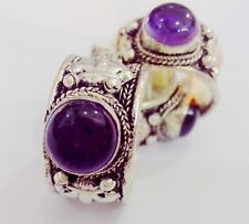 Retro Style Fashion Tibet Silver Purple Crystal Bead Lace Ring Adjustable Party