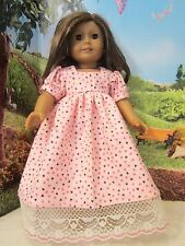 """homemade 18"""" american girl/madame alexander pink hearts nightgown doll clothes"""