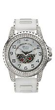 NEW Geneva Platinum Men's 4562 Entourage Silver Case White Dial Sillicone Watch